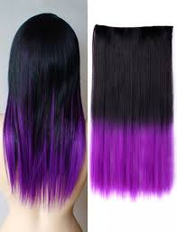 purple hair extensions hot black to purple clip in one ombre color synthetic