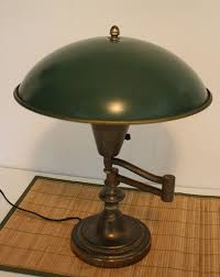 Bronze Swing Arm Table Lamp Vintage Brass Swing Arm Desk Lamp Green Metal Dome Shade 16