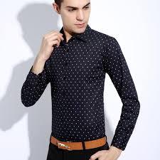 2017 new fashion shirt men slim fit dot print long sleeve shirts