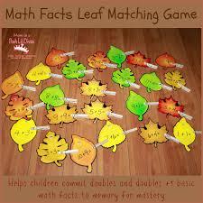 mom to 2 posh lil divas math facts leaf matching game