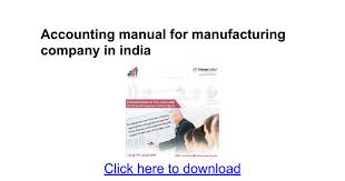 Sle Invoice For Accounting Services by Accounting Manual For Manufacturing Company In India Docs