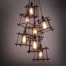 industrial style lighting chandelier modern 7 light square shaped shade industrial style lighting