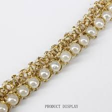 gold lace ribbon aliexpress buy beaded pearl white gold trimming lace ribbon