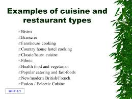 exles of cuisine and restaurant types ppt