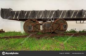 rusty train amazing side view of old rusty vintage cargo train platform on