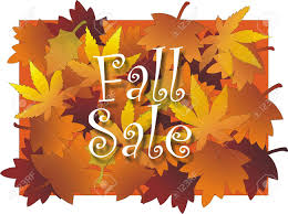 fall sale sign with maple leaf design background in vibrant
