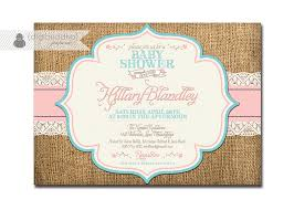 lace burlap baby shower invitation pink aqua turquoise roses