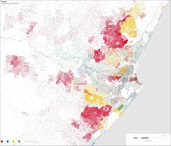 Population Density Map Of The World by Map Durban Population Density By Race South African History Online