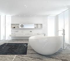 Black And White Modern Bathroom by Modern Bathroom Interior With A Freestanding White Tub On A Marble