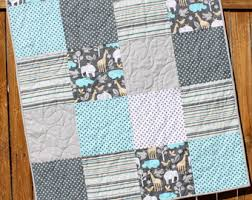 blue cowboy baby boy quilt western baby bedding rodeo baby