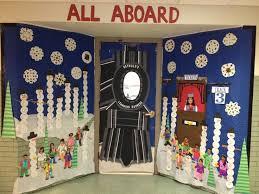 winter door decorating at school polar express bulletin boards
