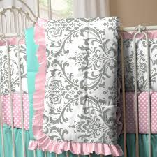 Lilac Damask Crib Bedding Mist And Gray Owls Crib Comforter Warm Damasks And Gray