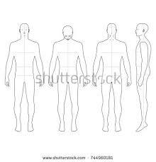 fashion bald man full length outlined stock illustration 505374187