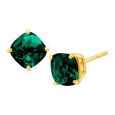 emerald stud earrings 1 1 5 ct cushion cut created emerald stud earrings in 14k gold 1