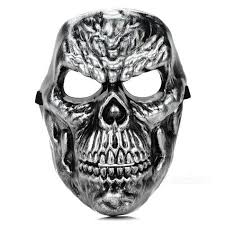 terrifying skull face mask for costume party halloween silver
