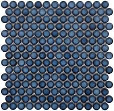 penny round oxford blue metallic color edge porcelain mosaic tile  with penny round oxford blue metallic color edge porcelain mosaic tile from pinterestcom