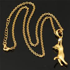 gold cat pendant necklace images Purrfectly playful cat necklace cute animals club jpg