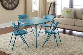Poker Dining Room Table Amazon Com Cosco 5 Piece Folding Table And Chair Set Teal
