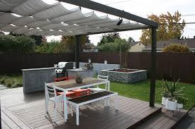 bench with backrest landscape modern with backyard retreat canopy