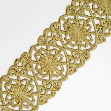 iron on metallic gold lace trim for bridal costume or jewelry