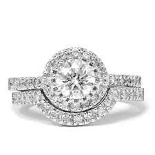 halo engagement ring settings 1 1 2 carat enhanced halo engagement wedding ring set