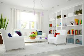 ultra white modern living room with futuristic feel modern living