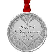 25th wedding anniversary christmas ornament 25th silver wedding anniversary heart metal ornament zazzle