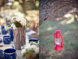 rustic outdoor camping wedding red lantern centerpieces the