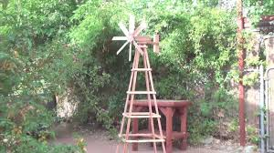 crafted garden redwood windmill with stand