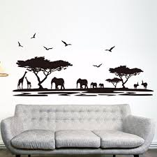online get cheap african wall mural aliexpress com alibaba group best promotion african animals elephant themed wall sticker mural home decal decor removable room decoration
