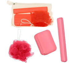 accessoire bureau rigolo set trousse de toilette kit voyage 3 accessoires bain rouge fluo