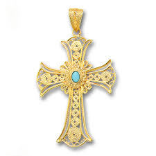 byzantine crosses 18k solid gold and turquoise filigree large byzantine cross
