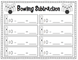 subtraction bowling freebie recording sheet math addition