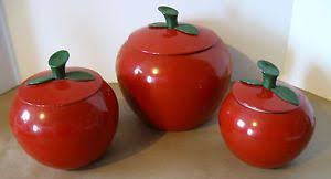 apple kitchen canisters retro spun aluminum vintage 6 pc apple canister set 1960 s