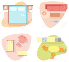 symbols of furniture of different rooms royalty free cliparts