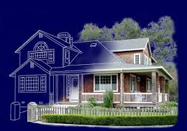 Residential Blueprints Blueprint Half The House In Blue Print The Other Full Color