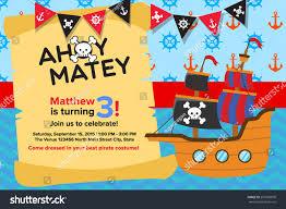 Birth Day Invitation Card Ahoy Matey Pirate Birthday Invitation Card Stock Vector 291680870