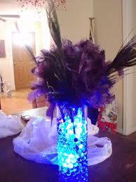 purple and blue feather wedding centerpieces ipunya