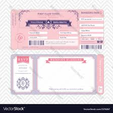 Boarding Pass Wedding Invitations Boarding Pass Wedding Invitation Template Vector Image