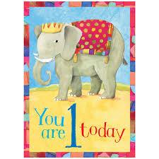 eeboo elephant 1 year old happy 1st birthday card