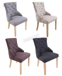 Ebay Dining Room Chairs by Foxhunter New Linen Fabric Dining Chairs Scoop Tufted Back Office