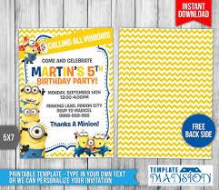 minion birthday party invites minions invitation minions birthday invitation by templatemansion