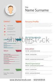 Template Professional Resume Professional Resume Cv Colored Bookmarks Template Stock Vector