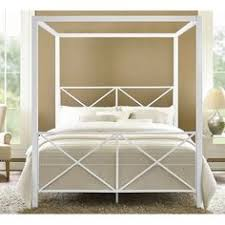 Canap茅 Lit D Appoint Evie Chrome Metal Canopy Bed With Linen Panel Headboard By Inspire Q