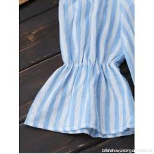 shoulder drawstring striped dress light blue casual dresses