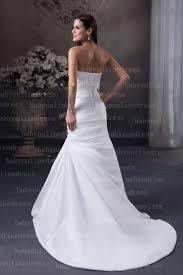 sweetheart satin crystal white drop waist mermaid wedding