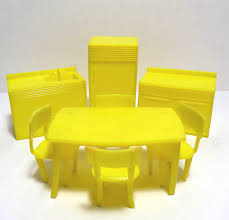 mpc yellow kitchen set dollhouse furniture vintage 1960s plastic