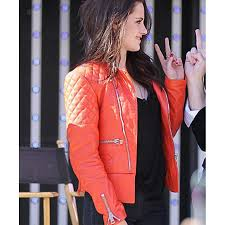 red and black motorcycle jacket kristen stewart jacket red leather quilted motorcycle jacket