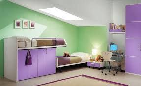 green purple kid bedroom color combination ideas with closet under