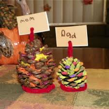 pinecone place card holders family crafts